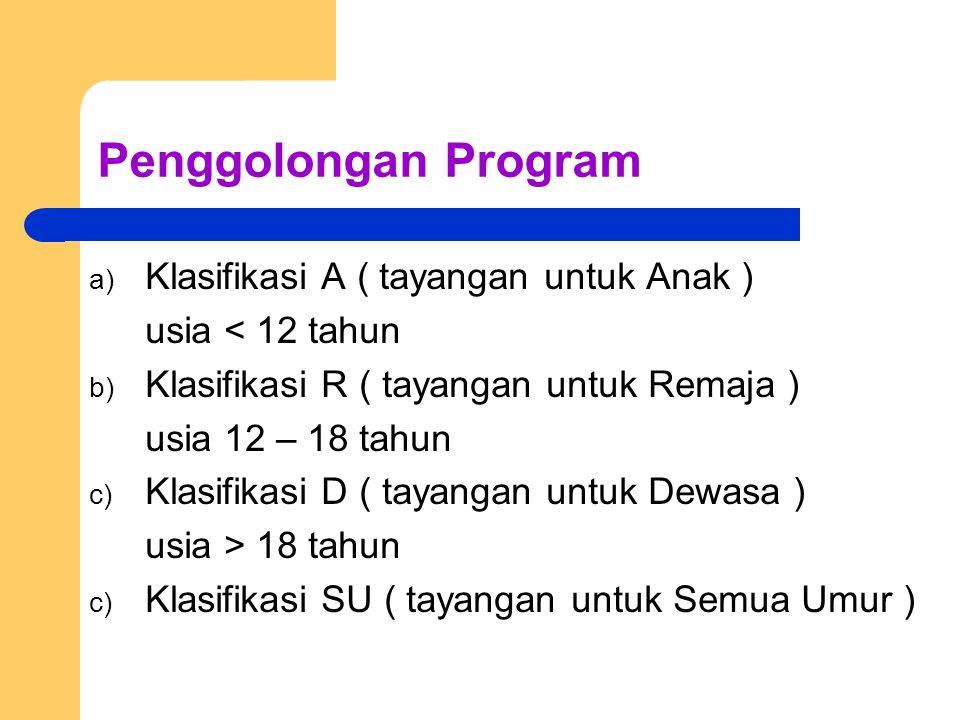 Penggolongan Program Klasifikasi A ( tayangan untuk Anak )