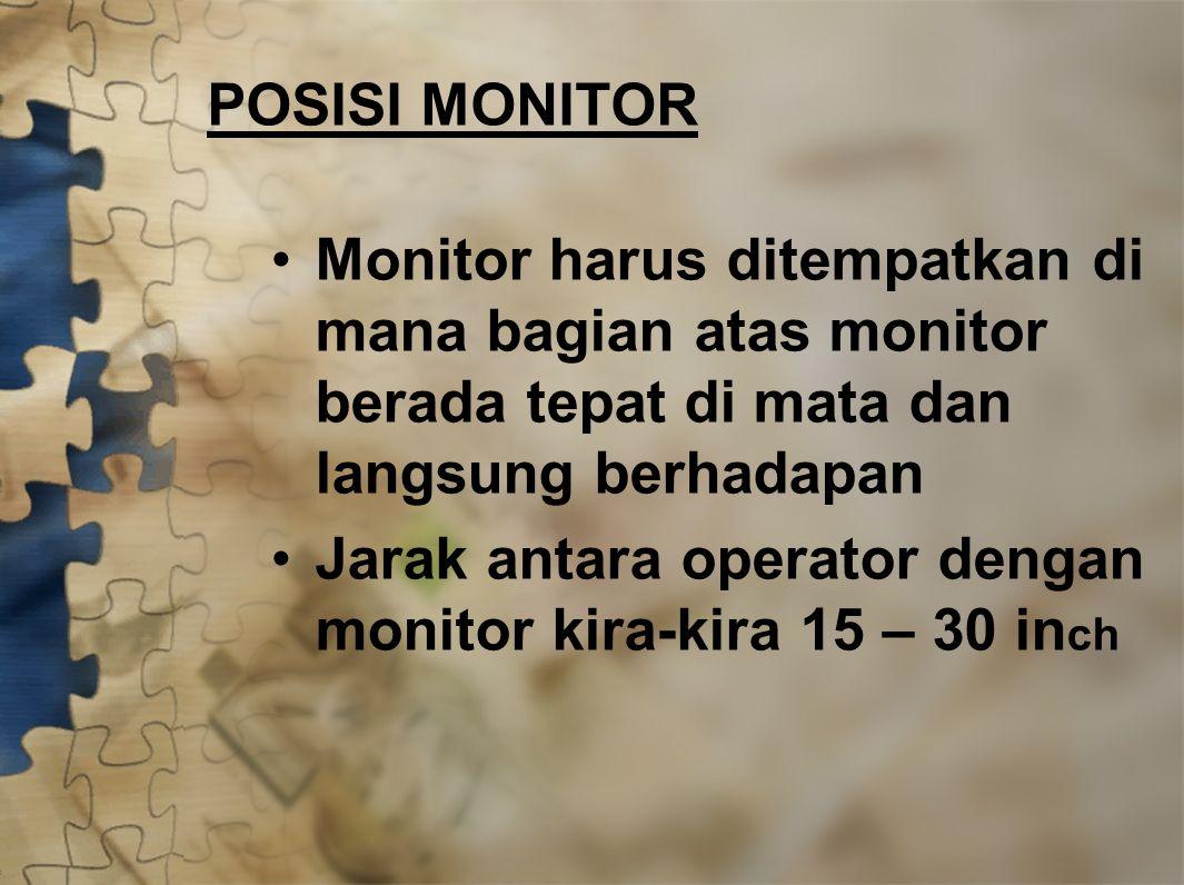 POSISI MONITOR Monitor harus ditempatkan di mana bagian atas monitor berada tepat di mata dan langsung berhadapan.