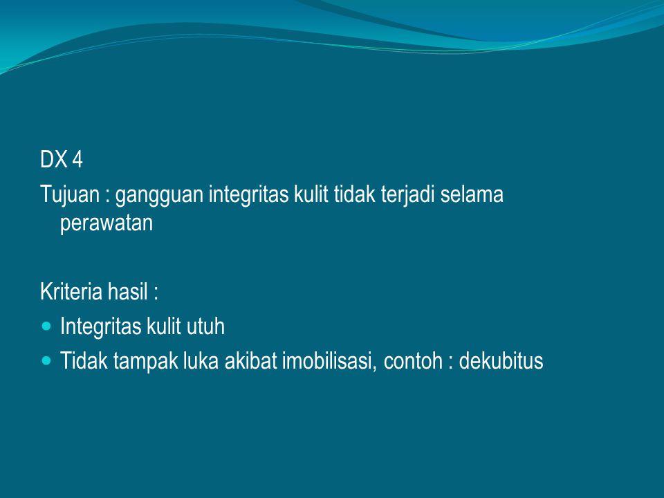 DX 4 Tujuan : gangguan integritas kulit tidak terjadi selama perawatan. Kriteria hasil : Integritas kulit utuh.