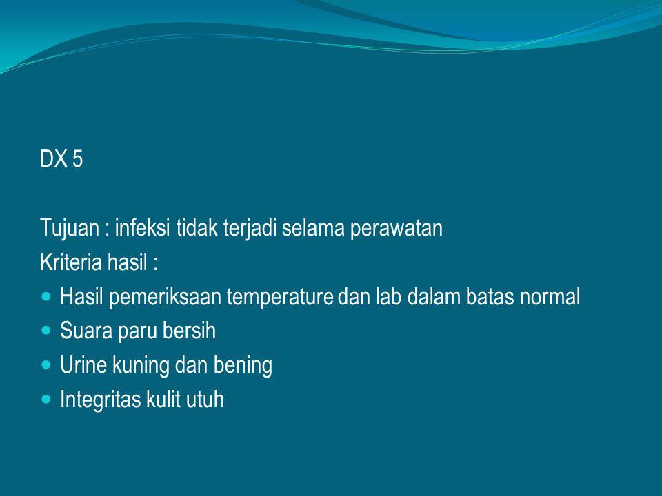 DX 5 Tujuan : infeksi tidak terjadi selama perawatan. Kriteria hasil : Hasil pemeriksaan temperature dan lab dalam batas normal.