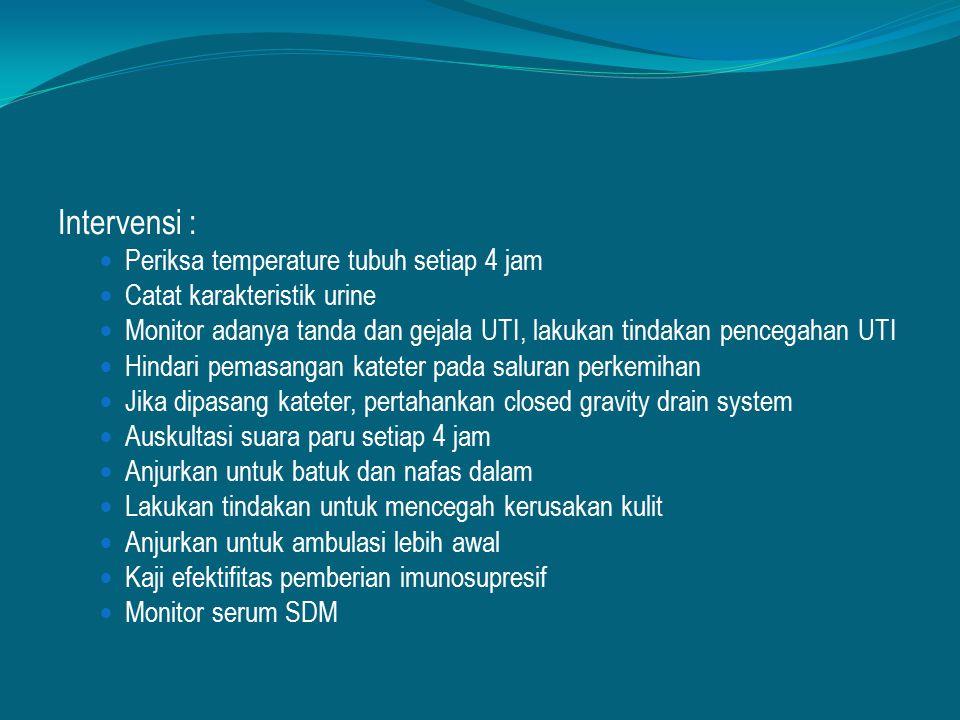 Intervensi : Periksa temperature tubuh setiap 4 jam