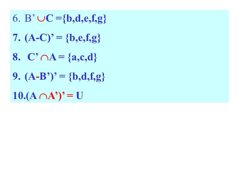 B' C ={b,d,e,f,g} (A-C)' = {b,e,f,g} C' A = {a,c,d} (A-B')' = {b,d,f,g} (A A')' = U