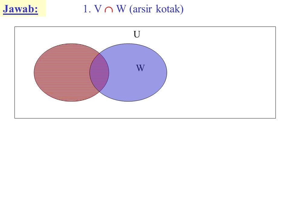 Jawab: 1. V  W (arsir kotak) U W V