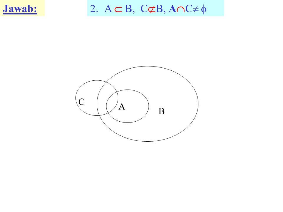 Jawab: A  B, CB, AC  C A B