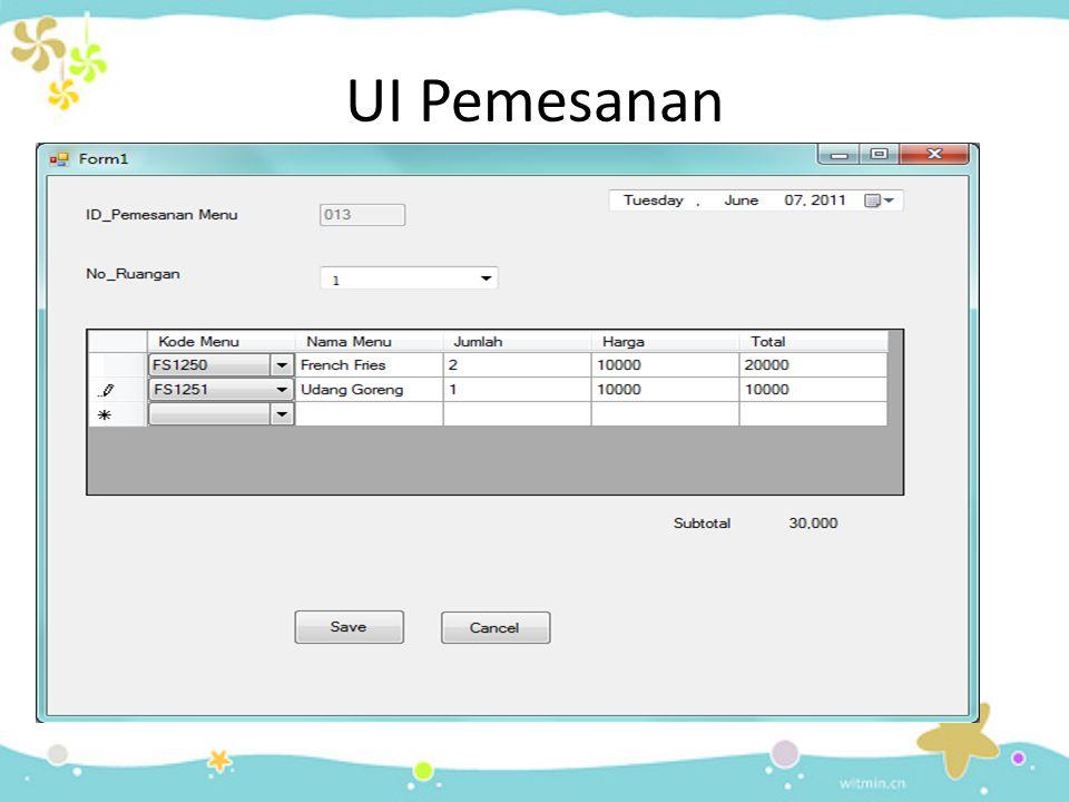 UI Pemesanan