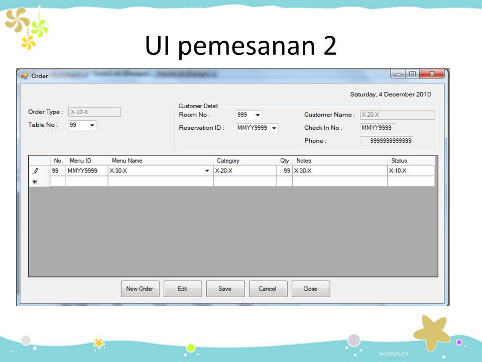 UI pemesanan 2