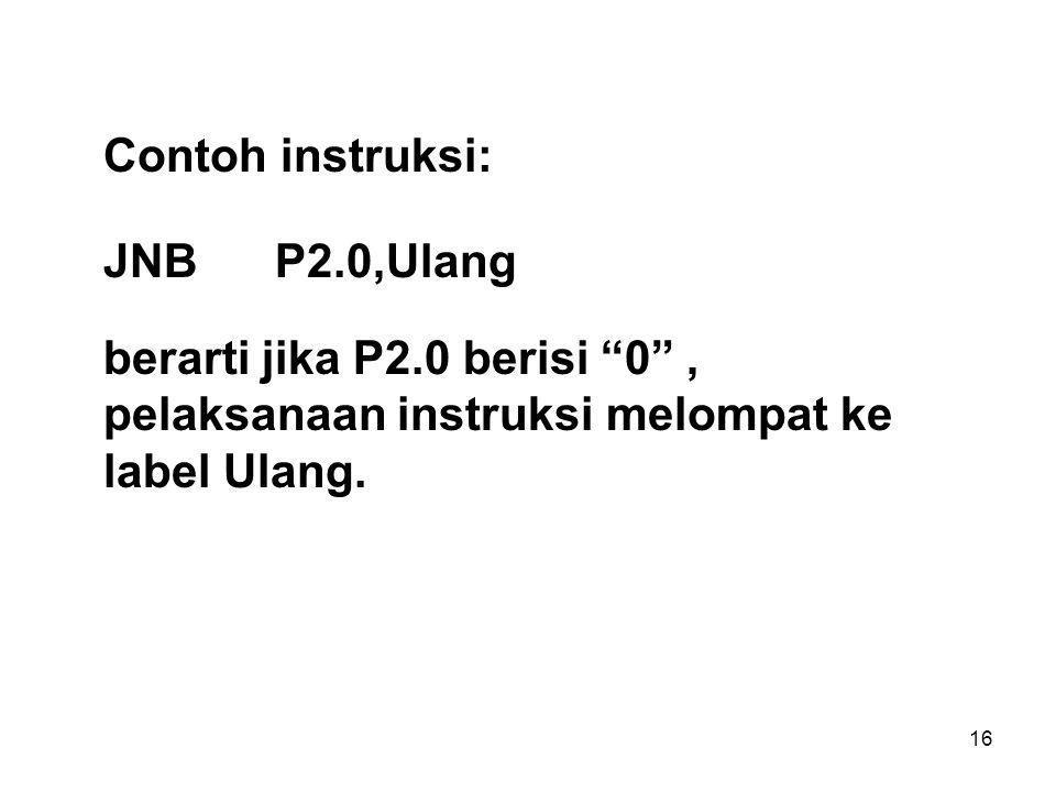 Contoh instruksi: JNB P2.0,Ulang.