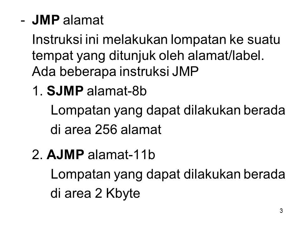 JMP alamat Instruksi ini melakukan lompatan ke suatu tempat yang ditunjuk oleh alamat/label. Ada beberapa instruksi JMP.