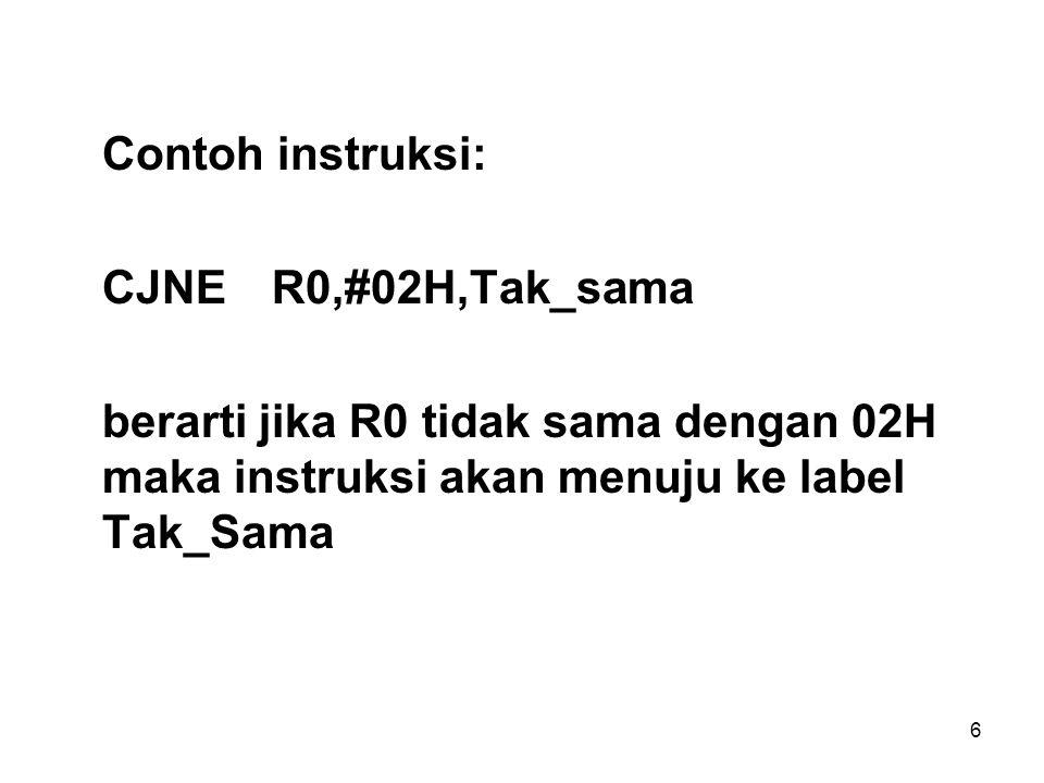 Contoh instruksi: CJNE R0,#02H,Tak_sama.