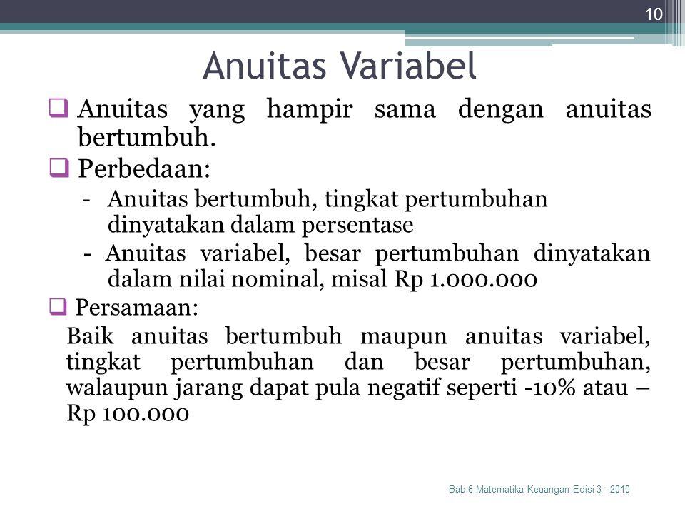 Anuitas Variabel Anuitas yang hampir sama dengan anuitas bertumbuh.