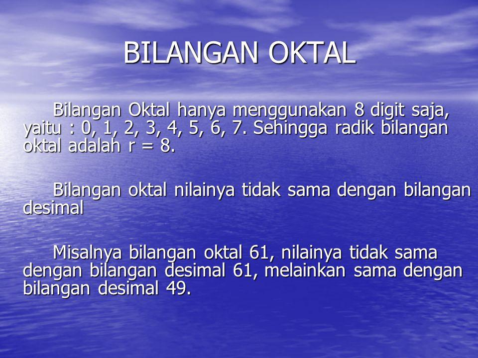 BILANGAN OKTAL Bilangan Oktal hanya menggunakan 8 digit saja, yaitu : 0, 1, 2, 3, 4, 5, 6, 7. Sehingga radik bilangan oktal adalah r = 8.