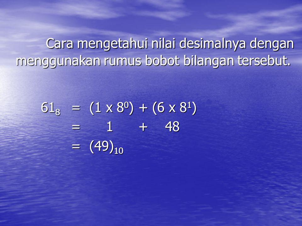 Cara mengetahui nilai desimalnya dengan menggunakan rumus bobot bilangan tersebut.