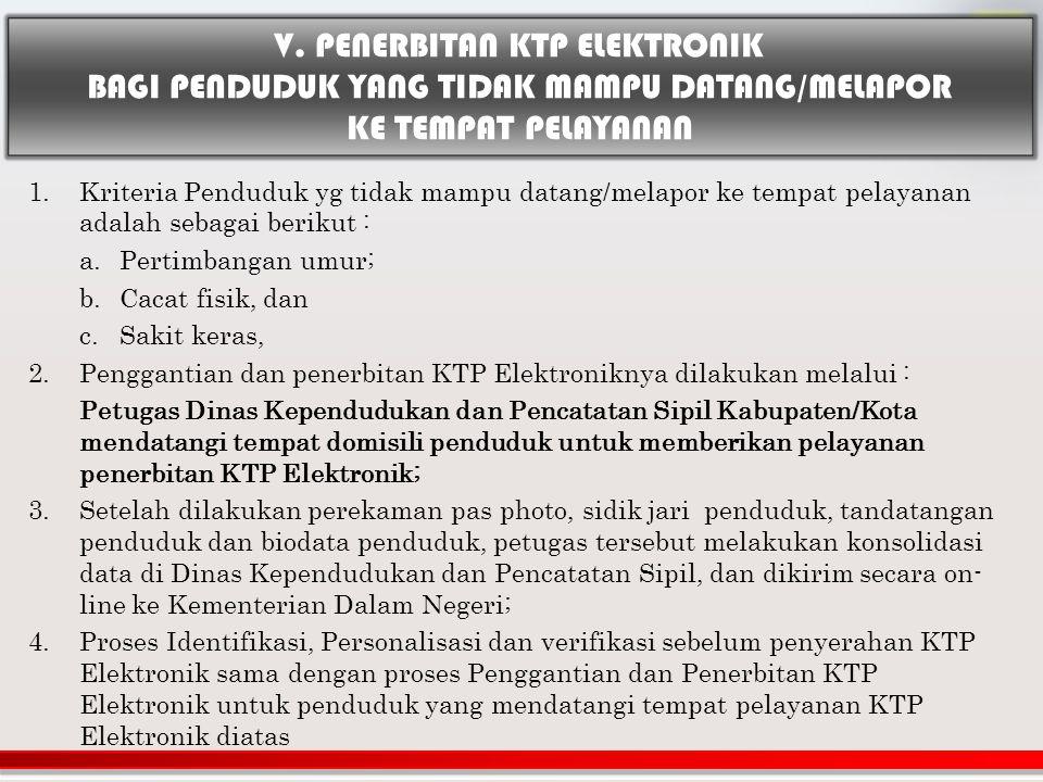 V. PENERBITAN KTP ELEKTRONIK