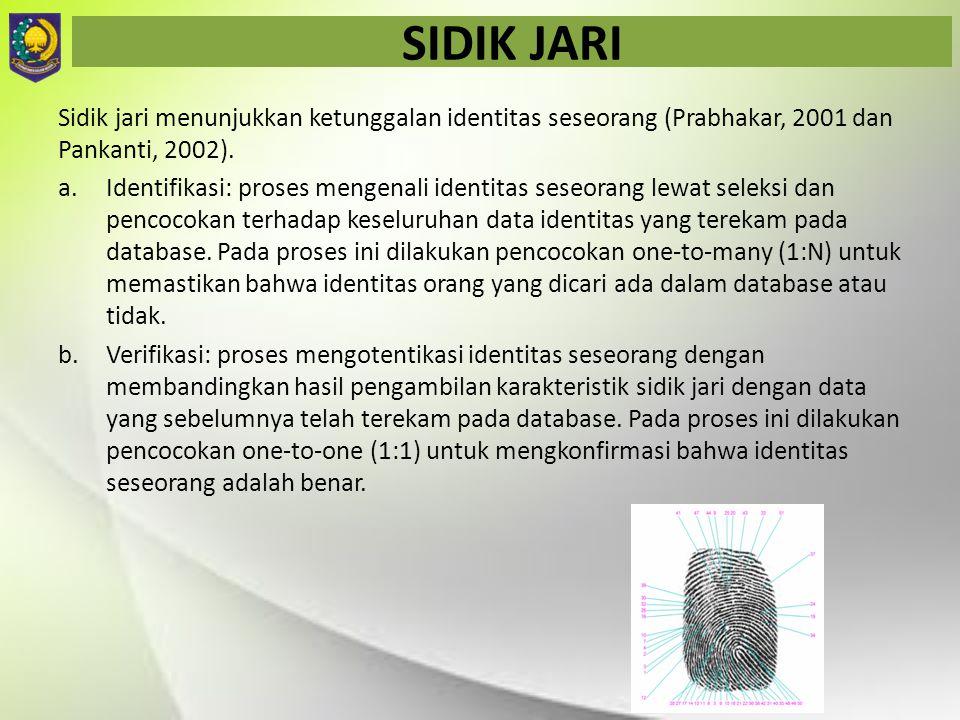 SIDIK JARI Sidik jari menunjukkan ketunggalan identitas seseorang (Prabhakar, 2001 dan Pankanti, 2002).