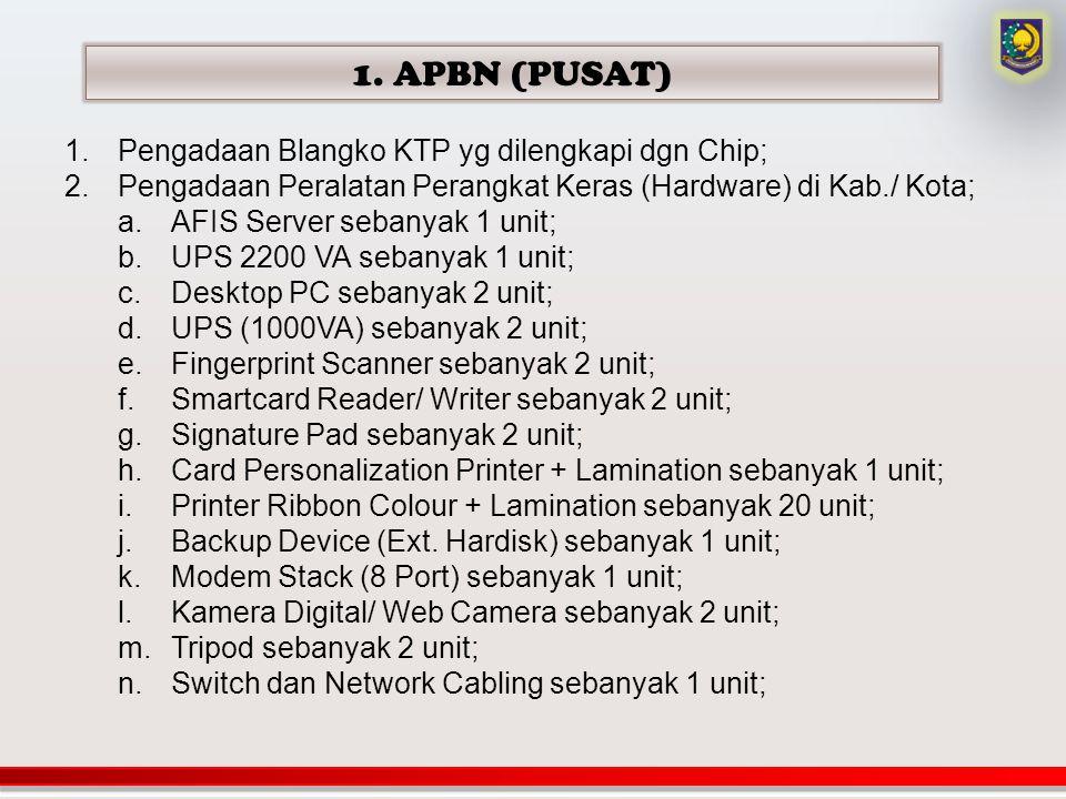 1. APBN (PUSAT) Pengadaan Blangko KTP yg dilengkapi dgn Chip;