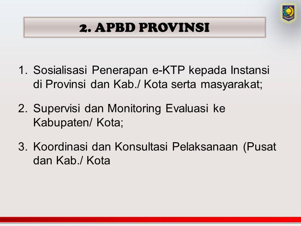 2. APBD PROVINSI Sosialisasi Penerapan e-KTP kepada Instansi di Provinsi dan Kab./ Kota serta masyarakat;