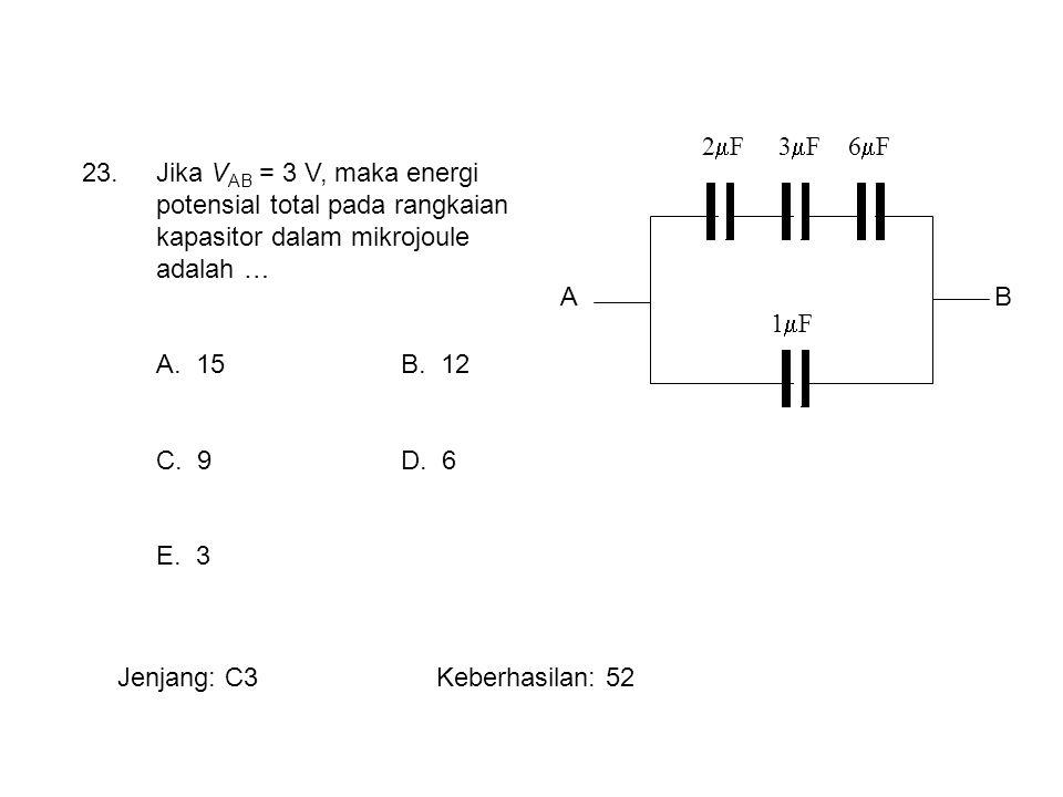 2F 3F 6F 1F. A. B. Jika VAB = 3 V, maka energi potensial total pada rangkaian kapasitor dalam mikrojoule adalah …