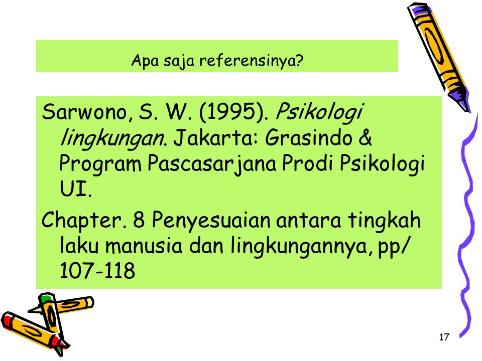 Apa saja referensinya Sarwono, S. W. (1995). Psikologi lingkungan. Jakarta: Grasindo & Program Pascasarjana Prodi Psikologi UI.