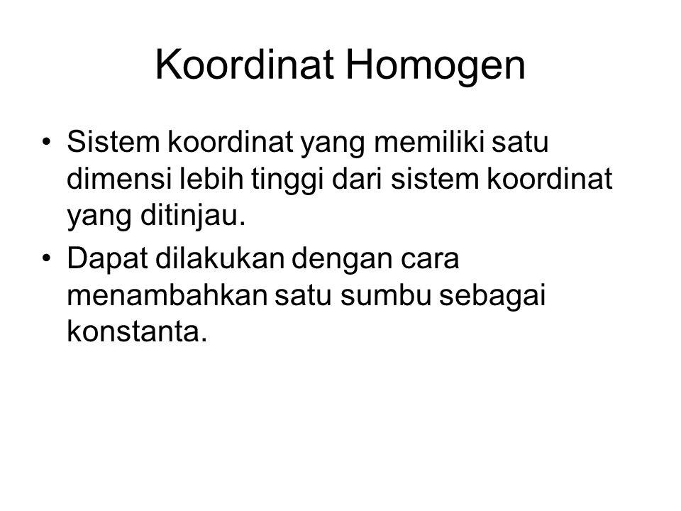 Koordinat Homogen Sistem koordinat yang memiliki satu dimensi lebih tinggi dari sistem koordinat yang ditinjau.