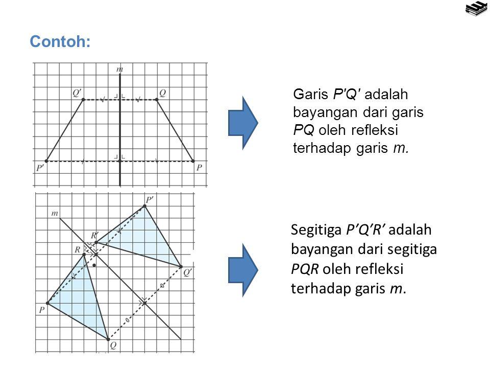 Contoh: Garis P′Q′ adalah bayangan dari garis PQ oleh refleksi terhadap garis m.