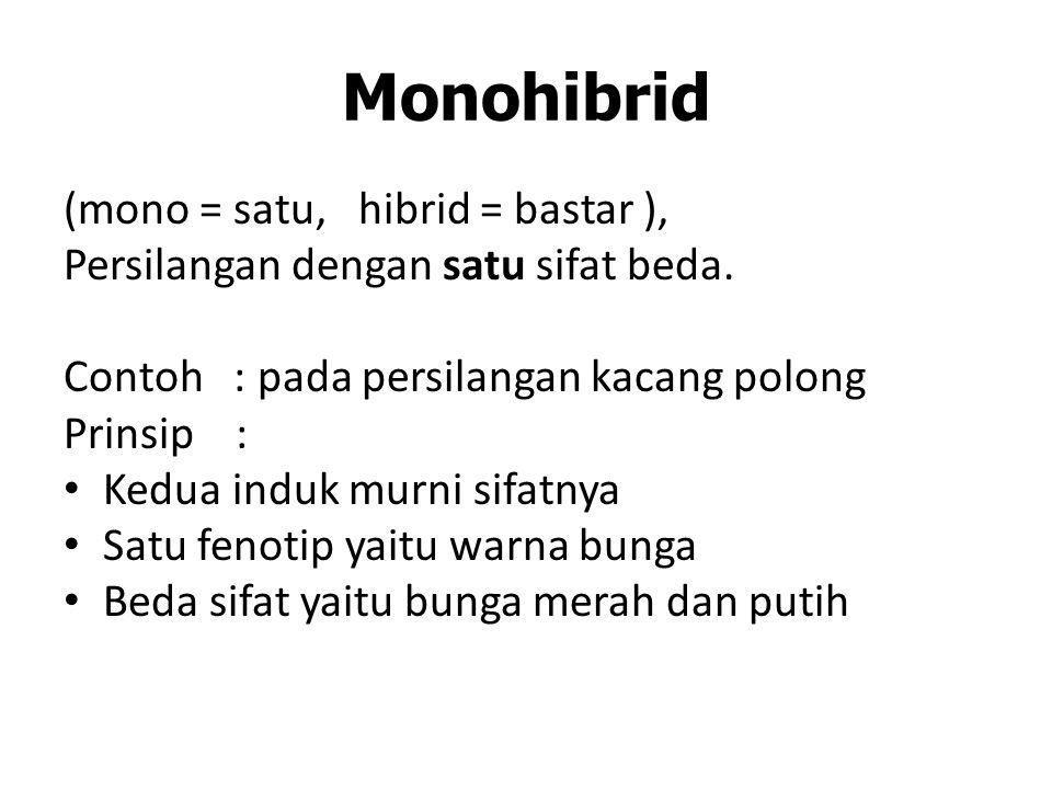 Monohibrid (mono = satu, hibrid = bastar ),