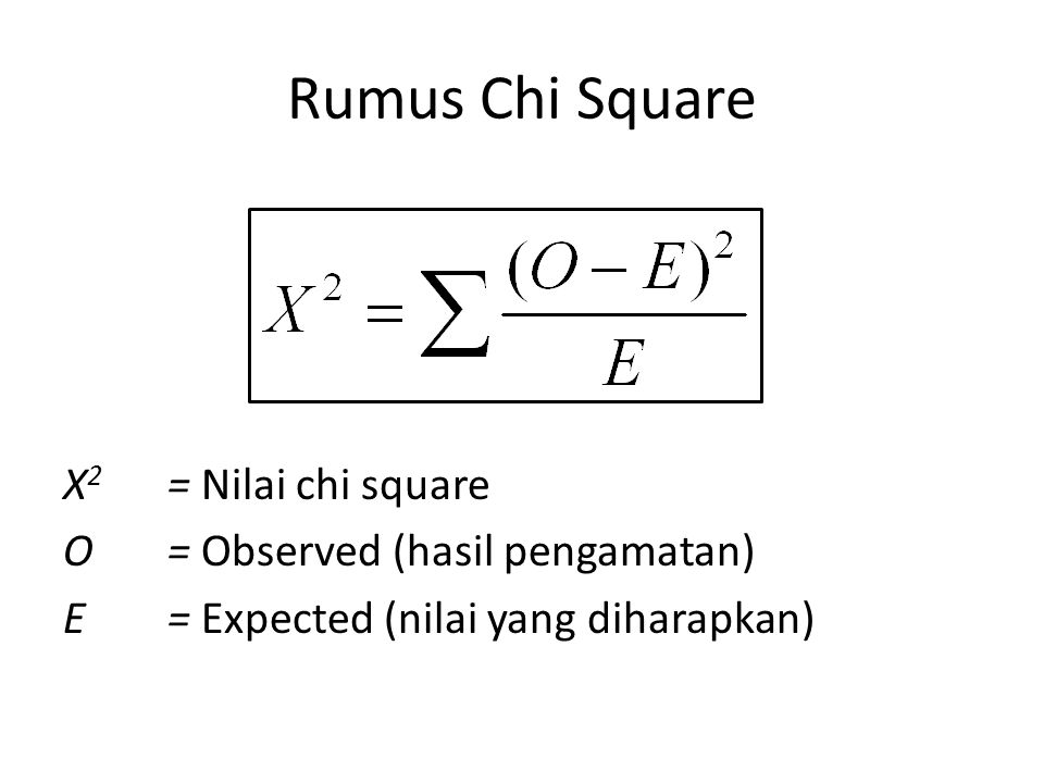 Rumus Chi Square X2 = Nilai chi square O = Observed (hasil pengamatan)