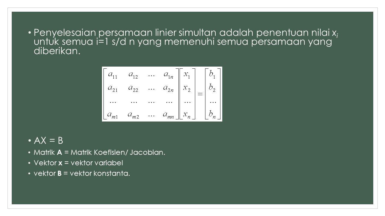 Penyelesaian persamaan linier simultan adalah penentuan nilai xi untuk semua i=1 s/d n yang memenuhi semua persamaan yang diberikan.