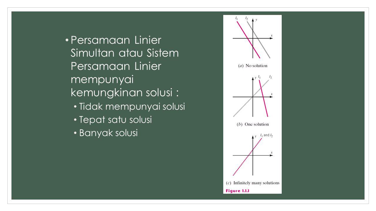 Persamaan Linier Simultan atau Sistem Persamaan Linier mempunyai kemungkinan solusi :