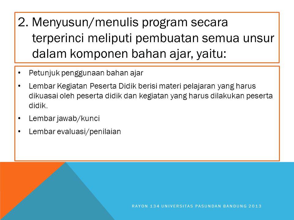 2. Menyusun/menulis program secara terperinci meliputi pembuatan semua unsur dalam komponen bahan ajar, yaitu: