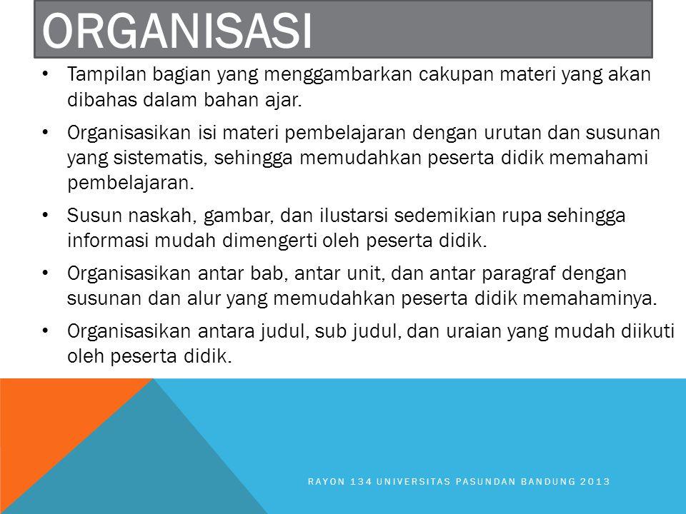 Organisasi Tampilan bagian yang menggambarkan cakupan materi yang akan dibahas dalam bahan ajar.