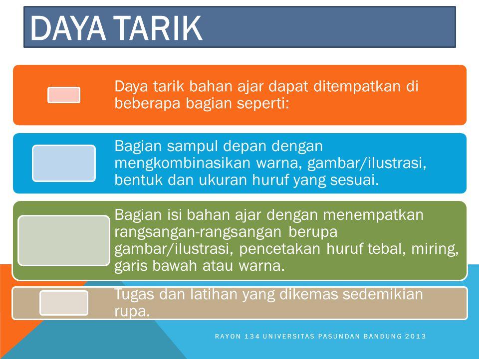 Daya tarik Daya tarik bahan ajar dapat ditempatkan di beberapa bagian seperti: