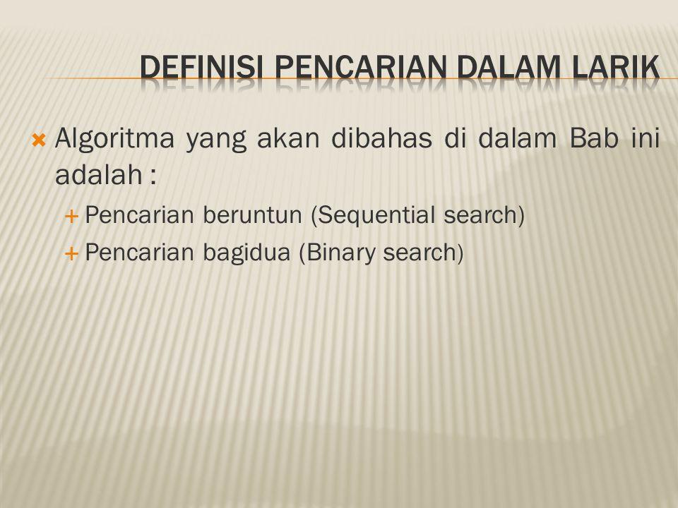 Definisi pencarian dalam Larik