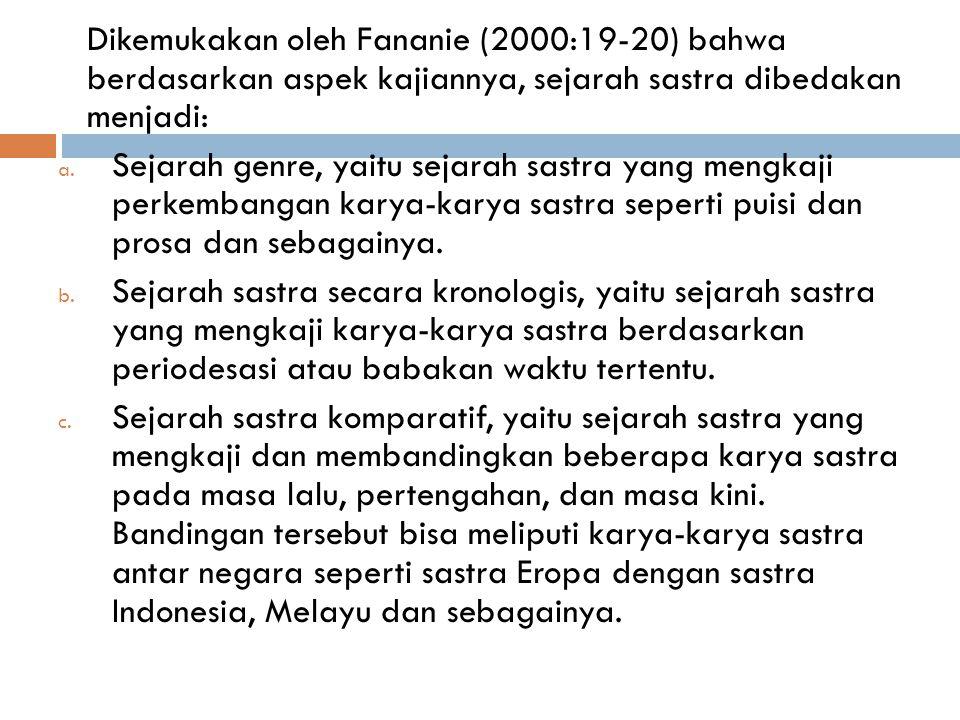 Dikemukakan oleh Fananie (2000:19-20) bahwa berdasarkan aspek kajiannya, sejarah sastra dibedakan menjadi:
