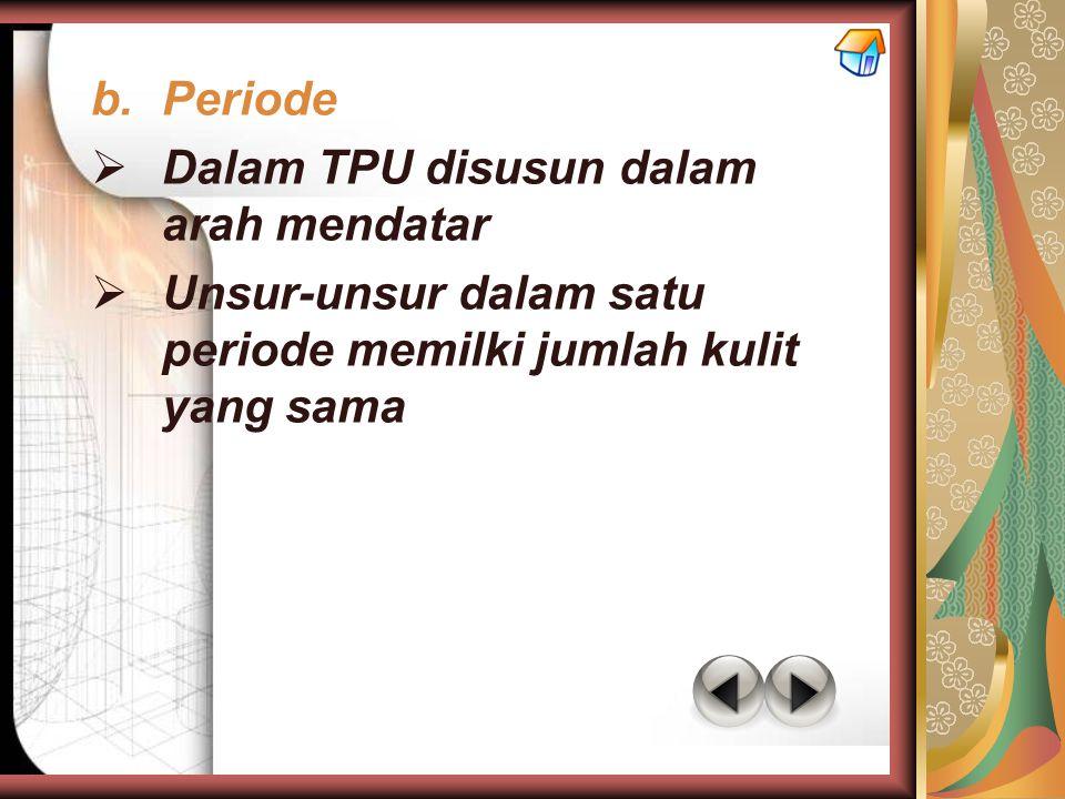 Periode Dalam TPU disusun dalam arah mendatar.