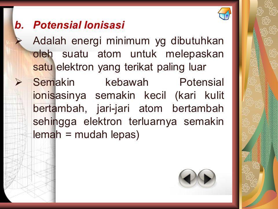Potensial Ionisasi Adalah energi minimum yg dibutuhkan oleh suatu atom untuk melepaskan satu elektron yang terikat paling luar.