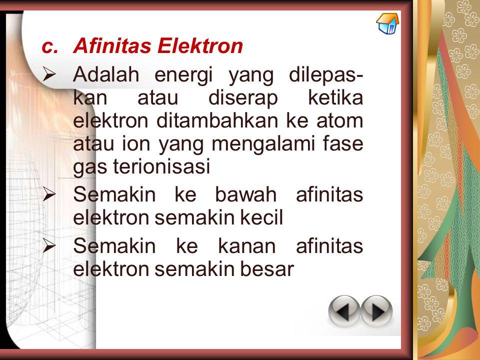 Afinitas Elektron Adalah energi yang dilepas-kan atau diserap ketika elektron ditambahkan ke atom atau ion yang mengalami fase gas terionisasi.