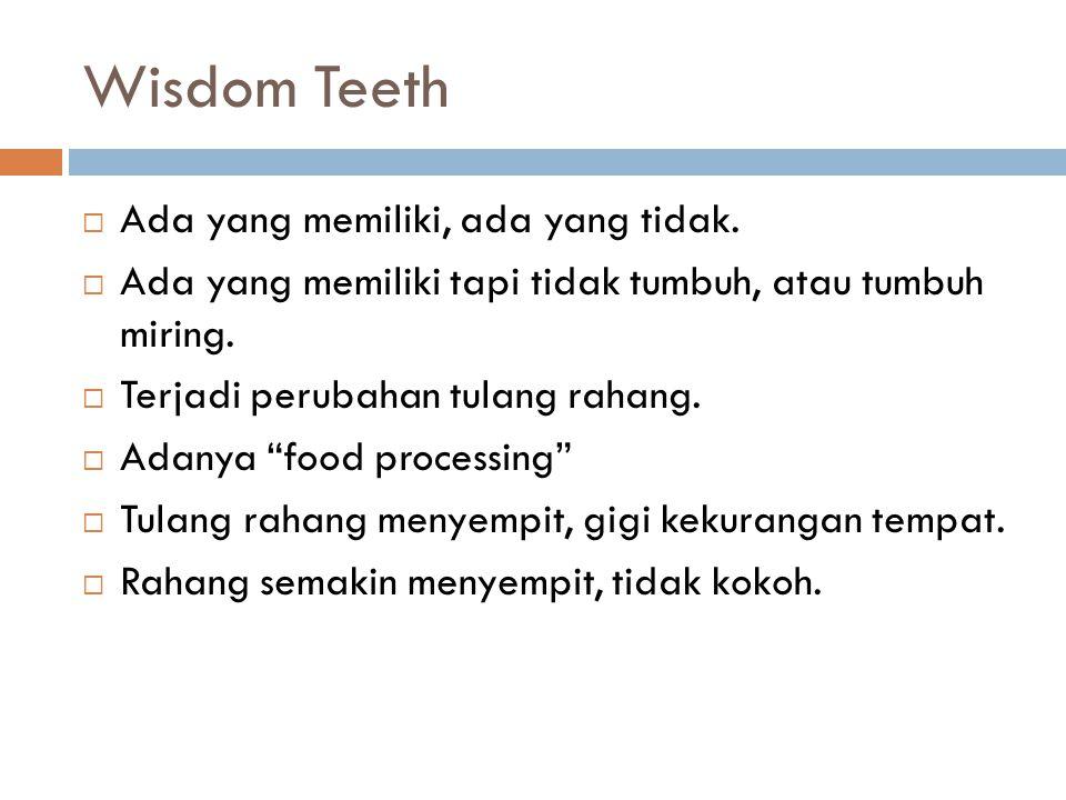 Wisdom Teeth Ada yang memiliki, ada yang tidak.