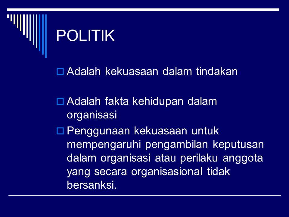 POLITIK Adalah kekuasaan dalam tindakan