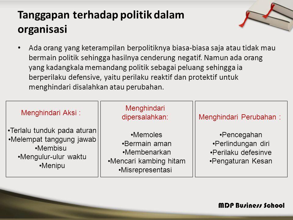 Tanggapan terhadap politik dalam organisasi