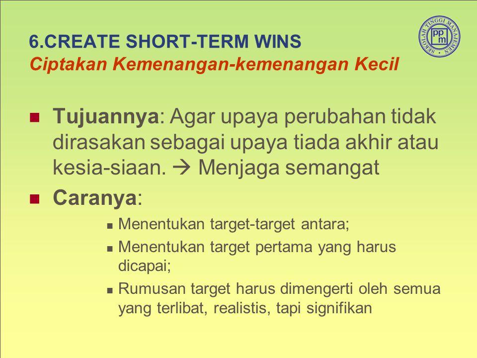 6.CREATE SHORT-TERM WINS Ciptakan Kemenangan-kemenangan Kecil