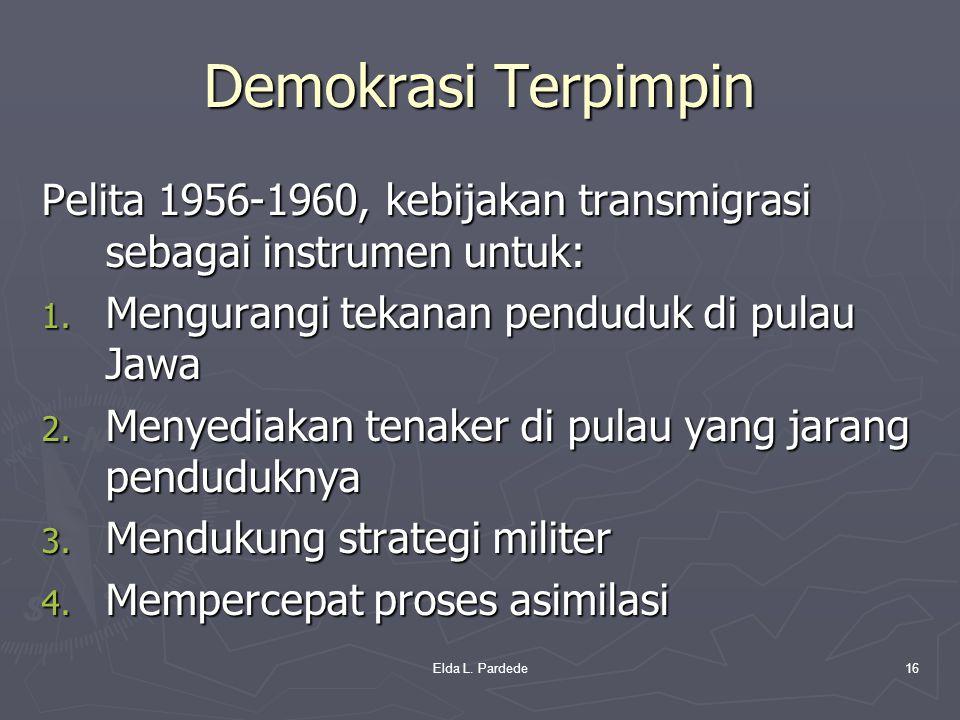 Demokrasi Terpimpin Pelita 1956-1960, kebijakan transmigrasi sebagai instrumen untuk: Mengurangi tekanan penduduk di pulau Jawa.
