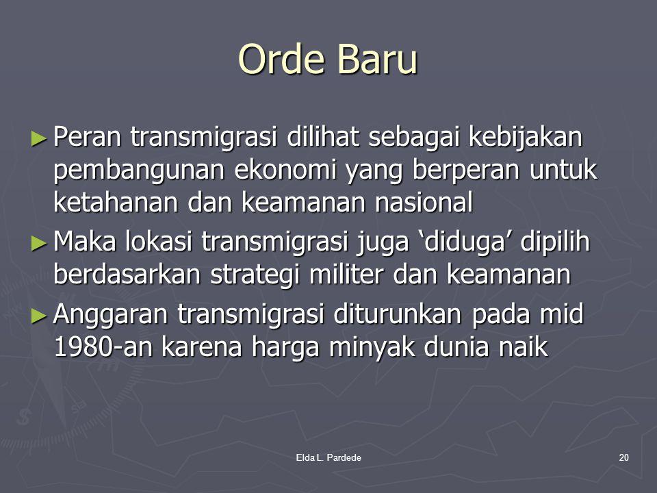 Orde Baru Peran transmigrasi dilihat sebagai kebijakan pembangunan ekonomi yang berperan untuk ketahanan dan keamanan nasional.