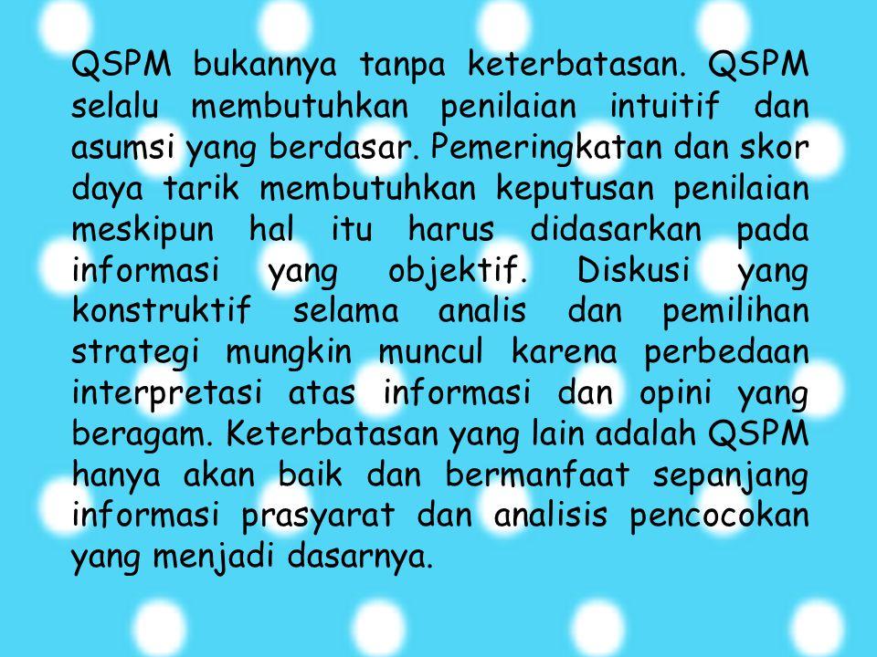 QSPM bukannya tanpa keterbatasan
