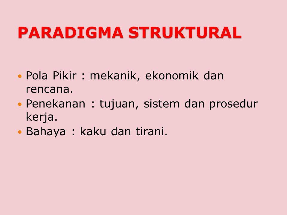 PARADIGMA STRUKTURAL Pola Pikir : mekanik, ekonomik dan rencana.