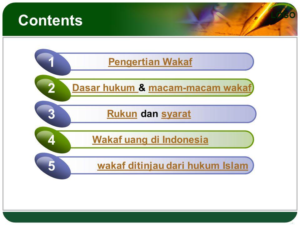 Contents 1 2 3 4 5 Pengertian Wakaf Dasar hukum & macam-macam wakaf