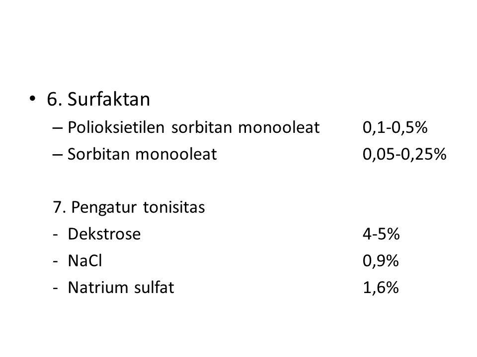 6. Surfaktan Polioksietilen sorbitan monooleat 0,1-0,5%