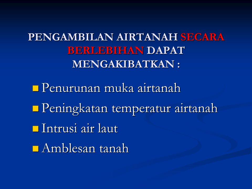 PENGAMBILAN AIRTANAH SECARA BERLEBIHAN DAPAT MENGAKIBATKAN :