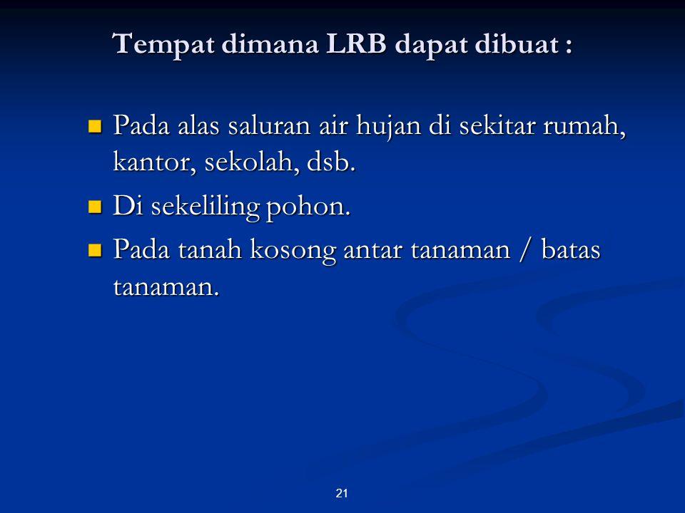 Tempat dimana LRB dapat dibuat :