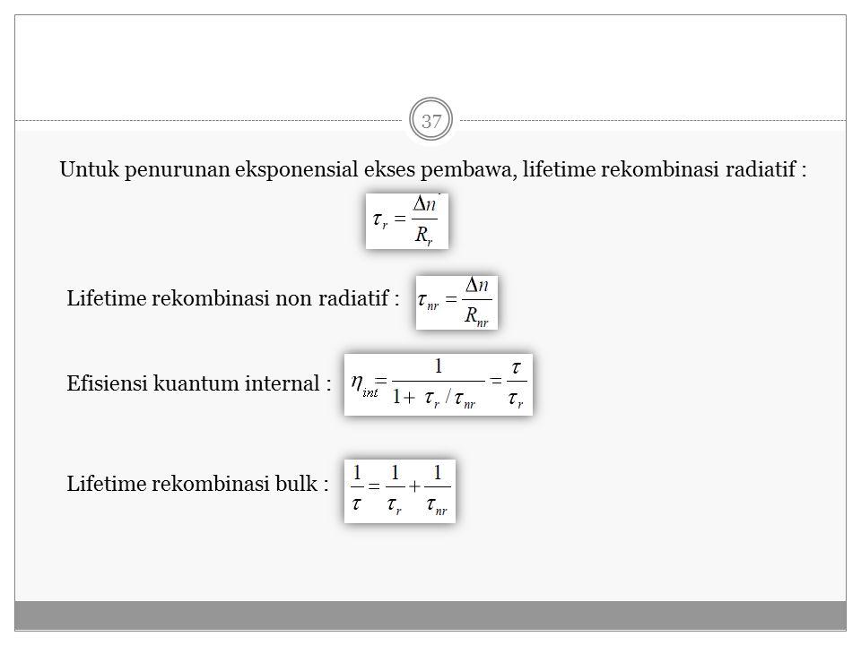 Untuk penurunan eksponensial ekses pembawa, lifetime rekombinasi radiatif :
