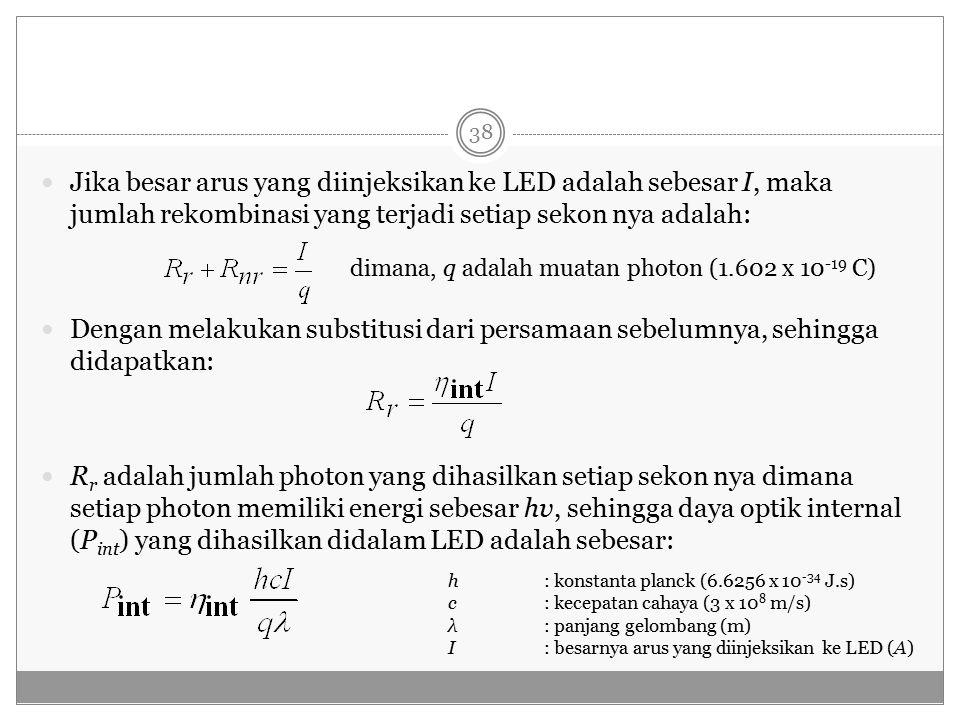 Jika besar arus yang diinjeksikan ke LED adalah sebesar I, maka jumlah rekombinasi yang terjadi setiap sekon nya adalah: